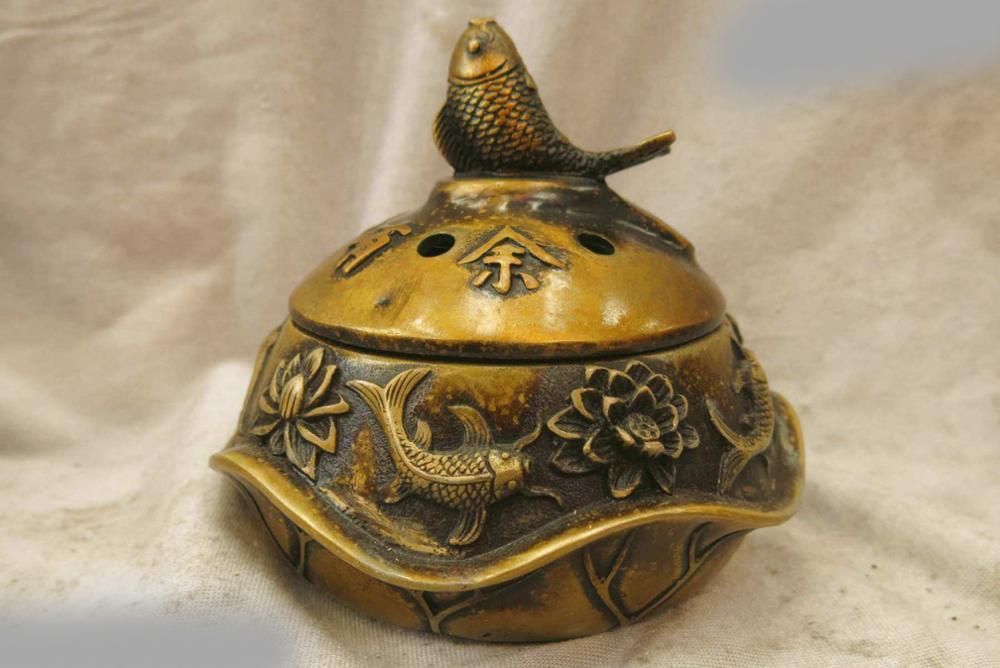 DS China Bronze Copper Censer Fish Lotus Buddhism Incense Burner Sculpture Statue