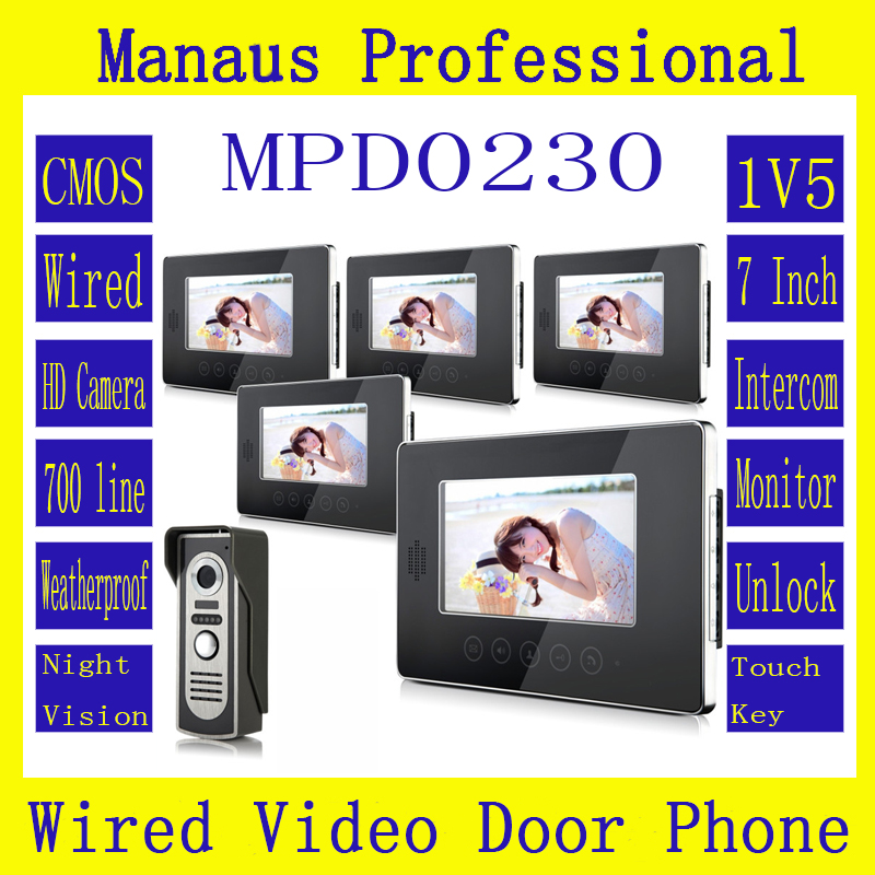 High Quality 7 inch Screen Keypad Display Video Intercom System,New Wired Magnetic Lock One to Five Video Doorphone Device D230b 7 inch video doorbell tft lcd hd screen wired video doorphone for villa one monitor with one metal outdoor unit night vision