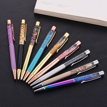 1Pcs luxury korean stationery Metal Crystal Pen Ballpoint Pens Foil Pens office & school supplies Gift Stationery for school 1pcs genkky high quality duke 0 5mm metal gel pens luxury sign pens roller pen stationery office school supplies business pen