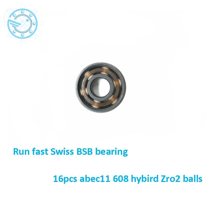 Free shipping 8pcs Abec11 608 Zro2 Hybrid Ceramic 608 Inline Skate Bearing 608 2rs Skateboard Speed Skate Roller Hand Spinner