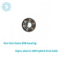 Free Shipping 8pcs Abec11 608 Zro2 Hybrid Ceramic 608 Inline Skate Bearing 608 2rs Skateboard Speed