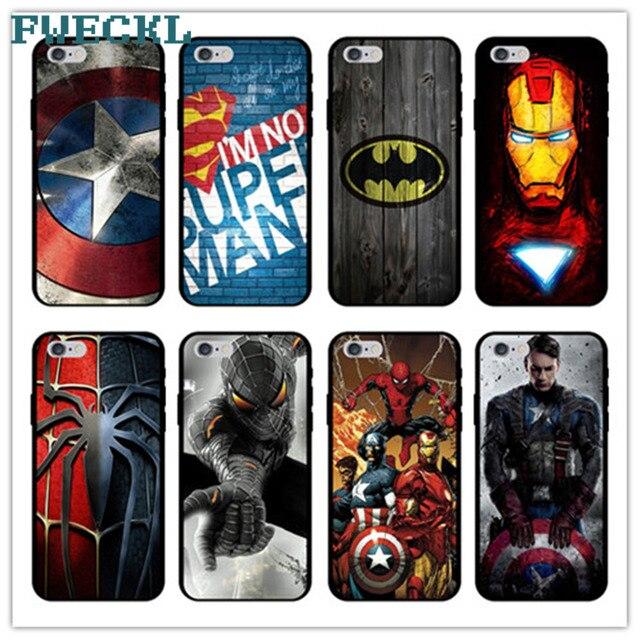 Marvel Superheroes Batman SpiderMan homem De Ferro Macio TPU Capa De Silicone Para o iphone X 8 7 6 6 s Plus 5S SE Vingadores Telefone Caso Capa