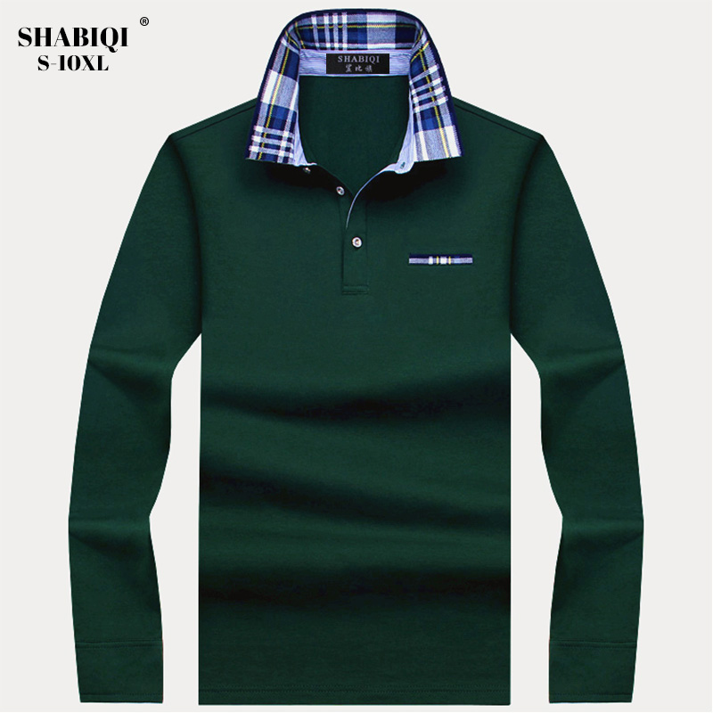 SHABIQI Autumn Winter  Men Brand Polo Shirt Men's Long Sleeve Polo Shirt  Casual Mens Polo Shirts Plus Size 6XL 7XL 8XL 9XL 10XL