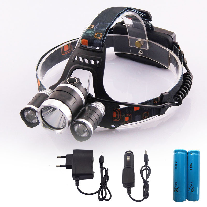 3 T6 Led Headlamp Rechargeable Head Torch Lantern Frontal Lampe Frontale with Car Charger 18650 Batteries