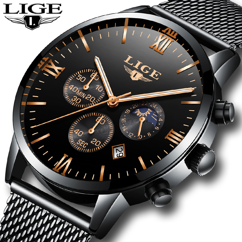 LIGE Men Watches Luxury Brand Multi Function Mens Sport Quartz Watch Man Waterproof Mesh belt Business Clock Male Wrist Watch noise cancelling earphone stereo earbuds reflective fiber cloth line headset music headphones for iphone mobile phone mp3 mp4 page 1