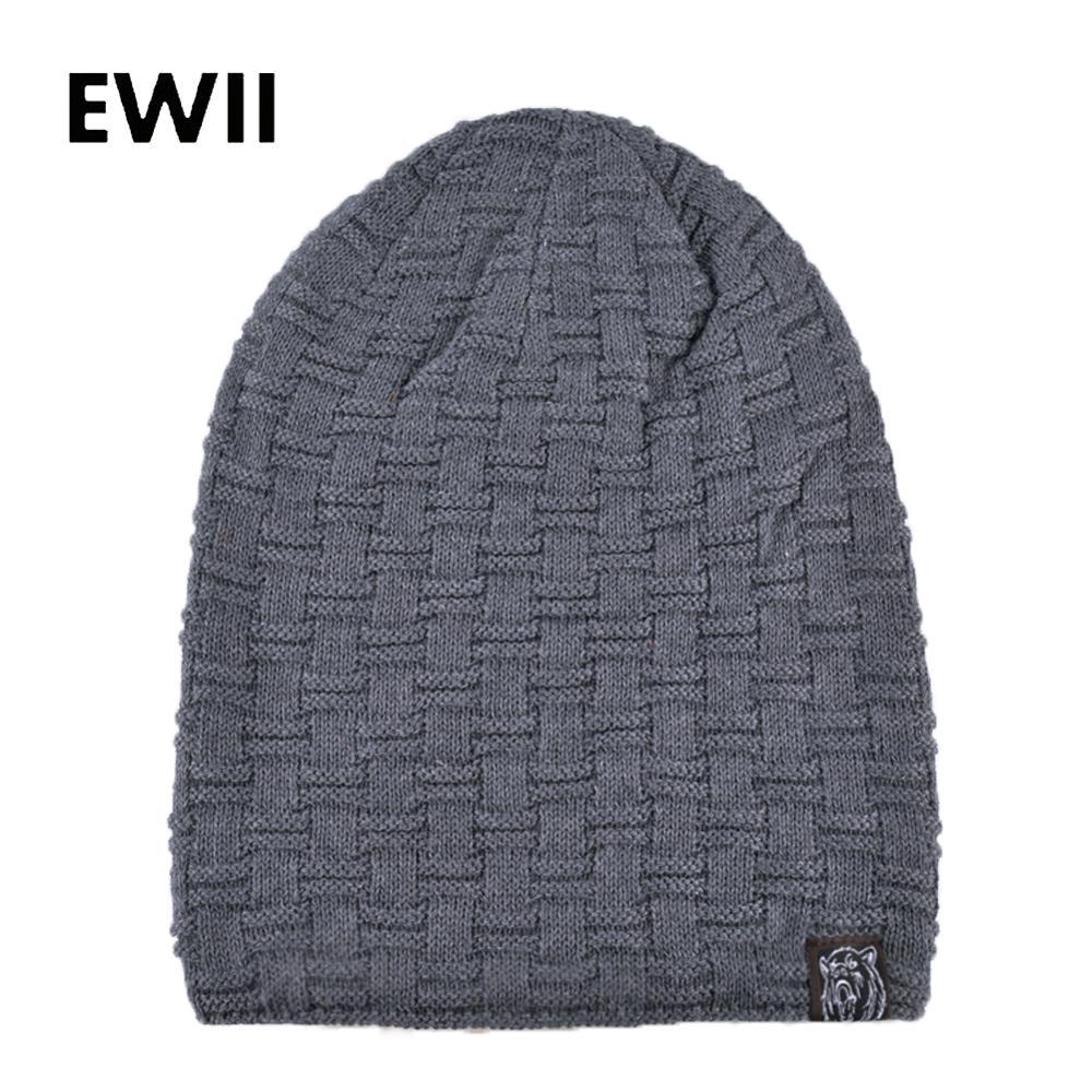 Casual Winter Warm Striped Knitted Hat Skullies Beanies Cap Sport Men Women Soft