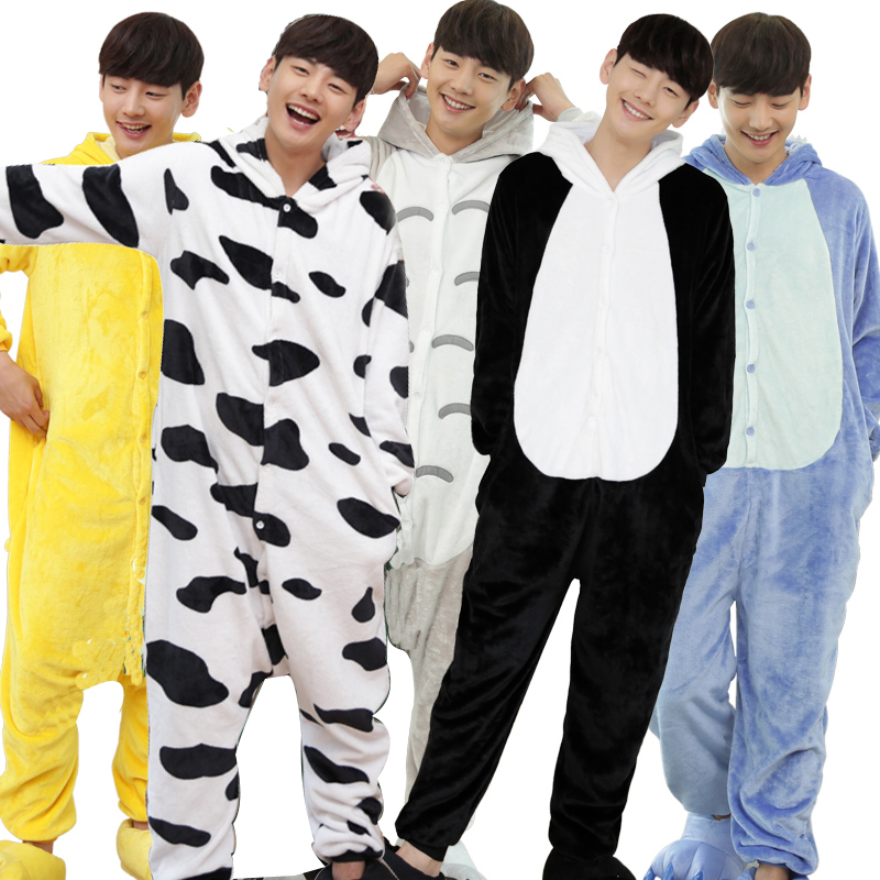 Kawaii Flannel Pijama kigurumi For men Minion Panda Tiger Giraffe Onesie Adult Sleepwear Couple Pyjamas Halloween Party Jumpsuit (2)