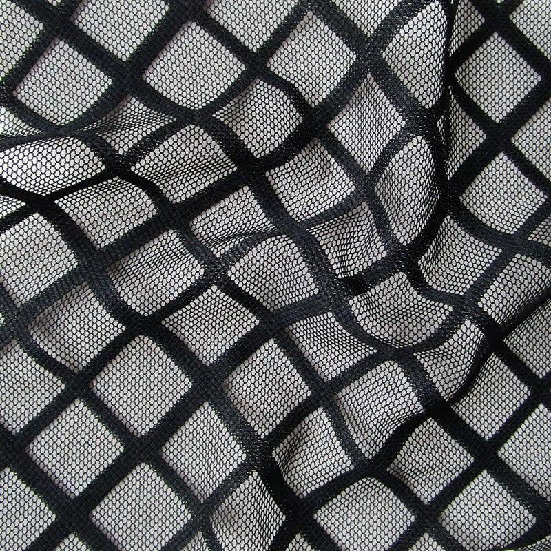 French Big Square Openwork Black Mesh Fabric Fashion Sexy Underwear Soft Leggings Apparel White Net Cloth DIY Sewing Cloth Tissu