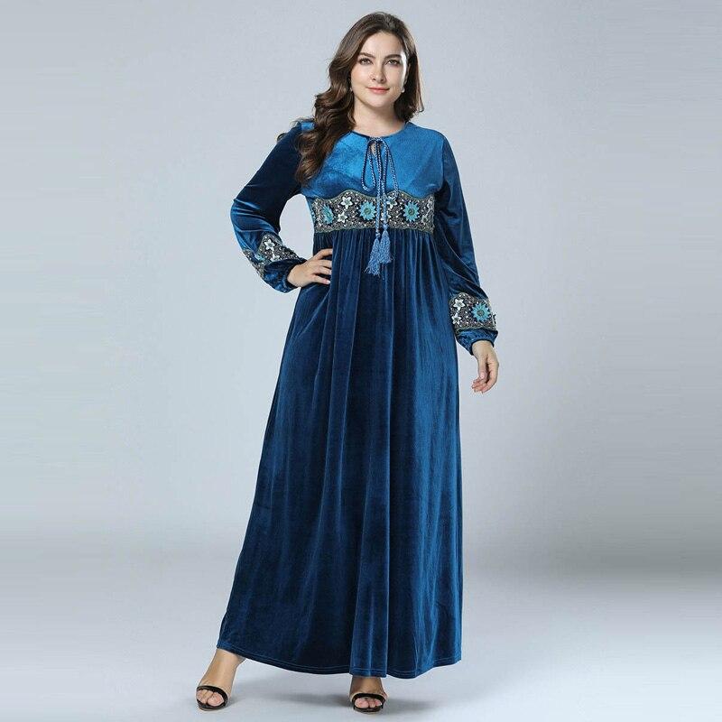 New 2018 Winter Abaya Muslim Velvet Dress Embroidery Arabic Abayas Dubai  Islamic Patchwork Warm Dresses Navy 356156f28013