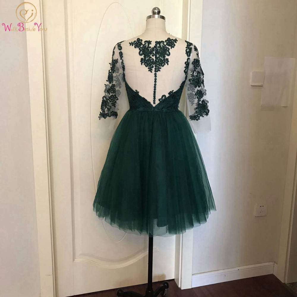 Walk Beside You Green   Cocktail     Dresses   Lace Appliques Tulle Sheer Neck Short Mini Three Quarter Sleeves Formal Vestidos Coctel