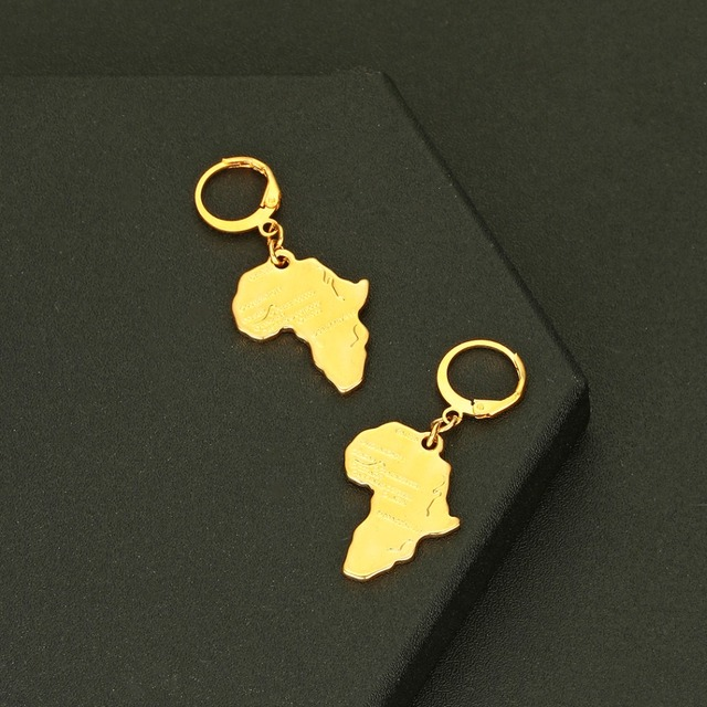 CHENGXUN Africa Map Pendant Earrings for Women Men Gold Color Ethiopian Jewelry African Cards Hip-hop Drop Earrings Party Gift