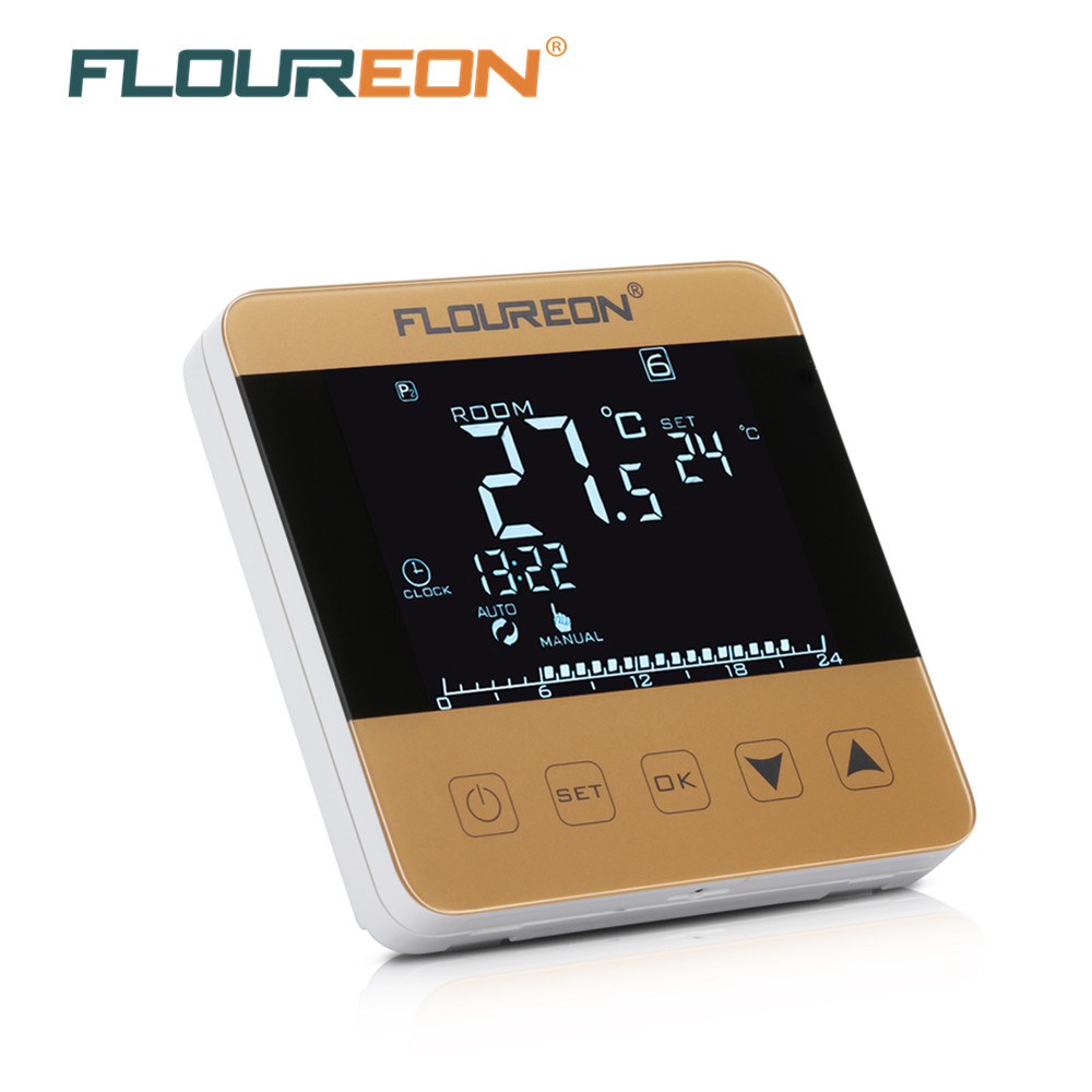 Floureon Hy08we 3 Electric Heating Thermostat Touch Screen Heating Lcd Thermostat 6 Period