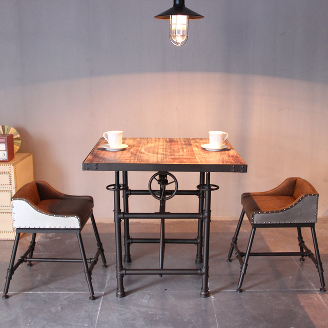 American Industrial Retro Dining Table And Chairs, Wrought Iron Bar Chairs  Lift Chairs Casual Coffee