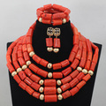 New Top Design 5 Rows Coral African Wedding Jewelry Set Costume Coral Jewelry Set Gold Plated Jewelry Set Free Shipping CJ768
