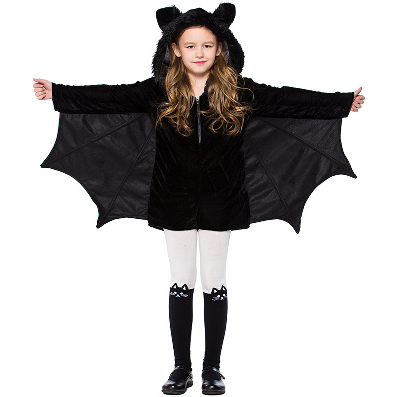 New Design Child Cosplay Batman Cute Bat Costume Kids Halloween Costumes For Girls Black Jumpsuit Connect Wings Cosplay Batman