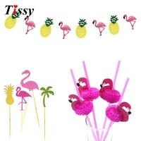 1Set Flamingo Theme Flag Garlands Cupcake Toppers 3D Paper Straws DIY Wedding Birthday Party Decoration Flamingo