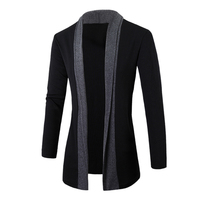 2017 Hot Angleterre Messieurs Élégant Hommes De Mode Tricoté Cardigan Veste Mince Casual Manches Longues Patchwork Mi-Long Chandails Manteau