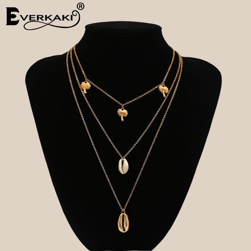 Everkaki Boho Necklace Fashion Multi Layer Shell Long Necklaces New Design Palm Tree Pendants Alloy Chain Solid Necklace Women