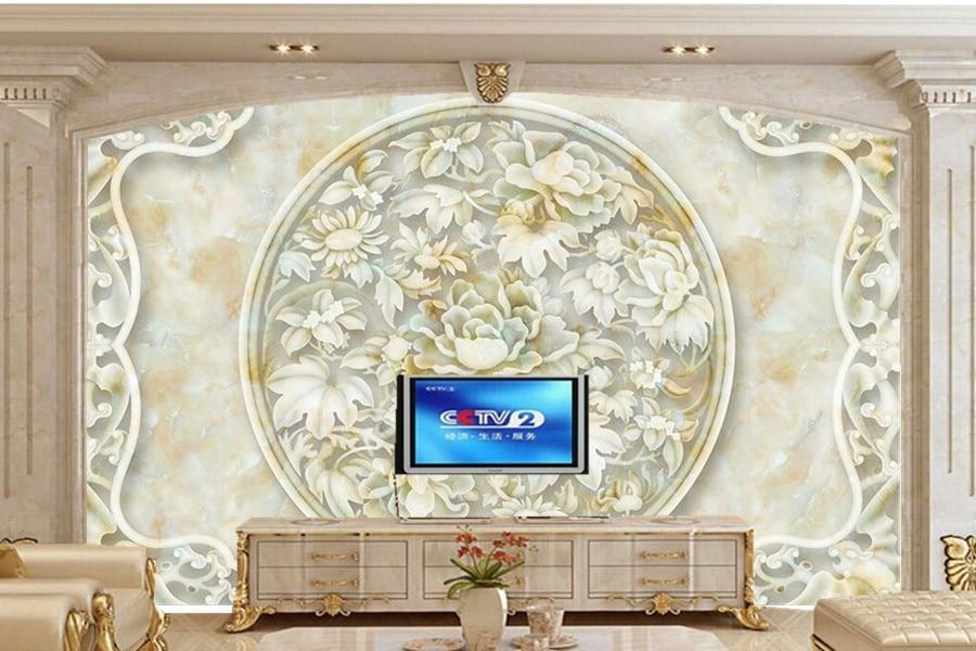 US $11.1 63% di SCONTO|Peonia scultura in marmo Chines stile murales,  ristorante soggiorno divano parete tv camera da letto wallpaper per pareti  3d ...