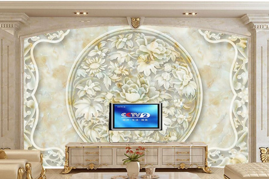 Peony marble carving Chines style murals,restaurant living room sofa tv wall bedroom wallpaper for walls 3d papel de parede blue earth cosmic sky zenith living room ceiling murals 3d wallpaper the living room bedroom study paper 3d wallpaper