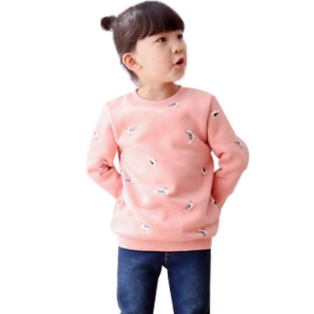 2016 Spring Autumn Children Long-sleeve Birds Printing Jumper Clothing Comfortable Sweet Baby Girls Joker Cotton Sweatshirts