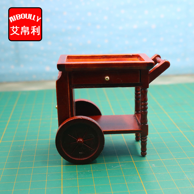1 12 Dollhouse Miniature Furniture Kitchen wooden push rotating dining car Doll  House Accessories Free Shipping 58af65408208