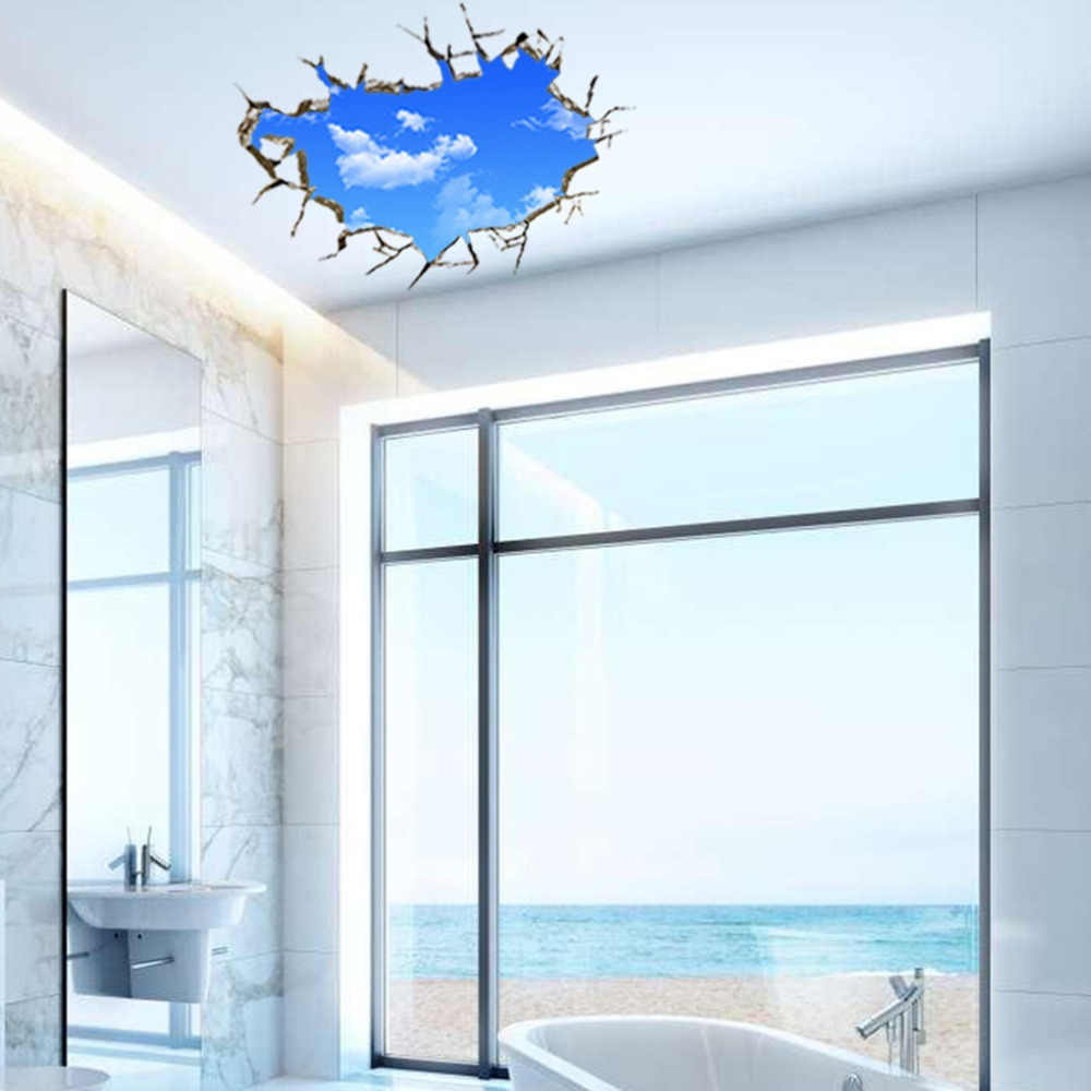 New Creative Blue Sky 3D Sticker Stereo Ceiling Living Room Bedroom Wall Stickers PVC Blue 50*70cm Non-Toxic dropshipping 2017