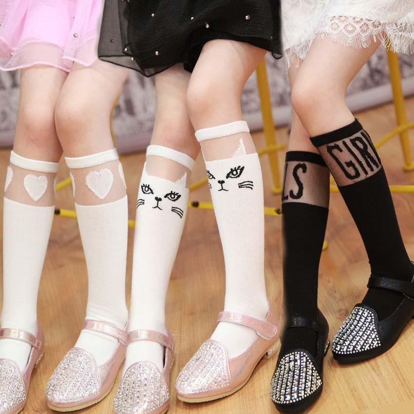 6b5ebdb9a18 Baby Kids High Knee Socks School Cartoon Cat Lace Solid Socks Leg Warmer  For Girls Children