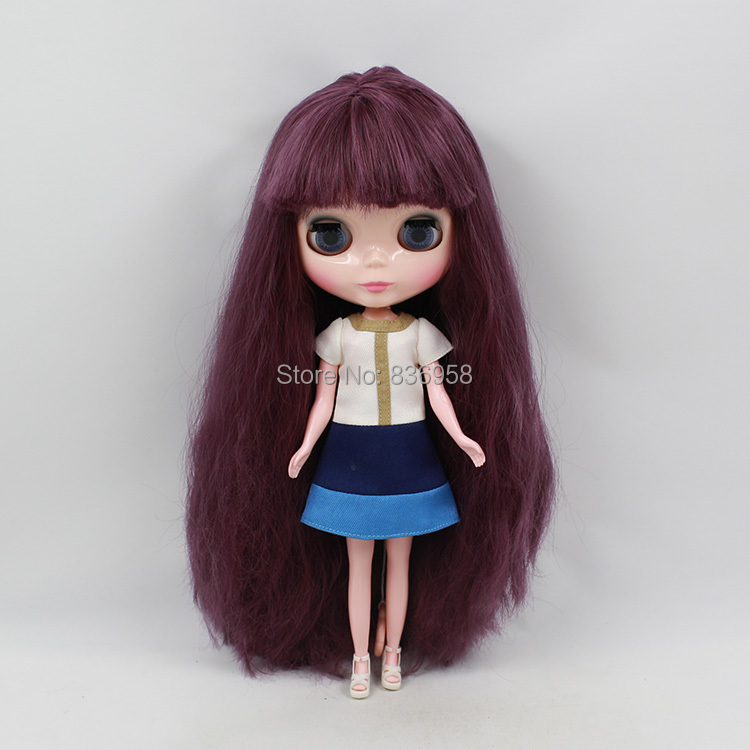 Nude Doll For Series No.300BL135 DARK PURPLR Long hair White skin Suitable For DIY Change Toy For Girls