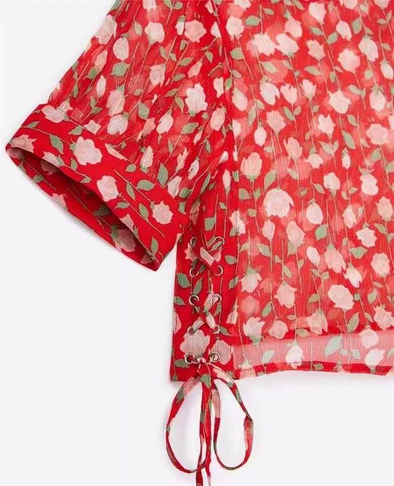 2019 Women Printed Blouse Summer Boho Half Sleeves Shirt chiffon Vintage Tops Female blusa feminina Spring