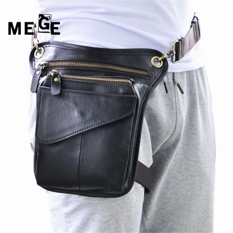 Prix pour MEGE Hommes Femmes véritable sac en cuir vintage en cuir cuisse sac taille jambe sac, tactique Sport En Plein Air Chasse Camping poche