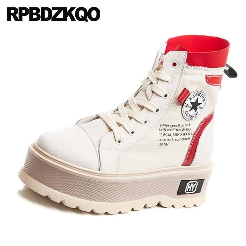 Militares Zapatos Plataforma Botas La Tobillo rojo Cuña De Ejército Otoño 2018 Pie Lona Zapatillas Redondo Casual Combate Muffin Negro Mujer Del Dedo dgYfgrq