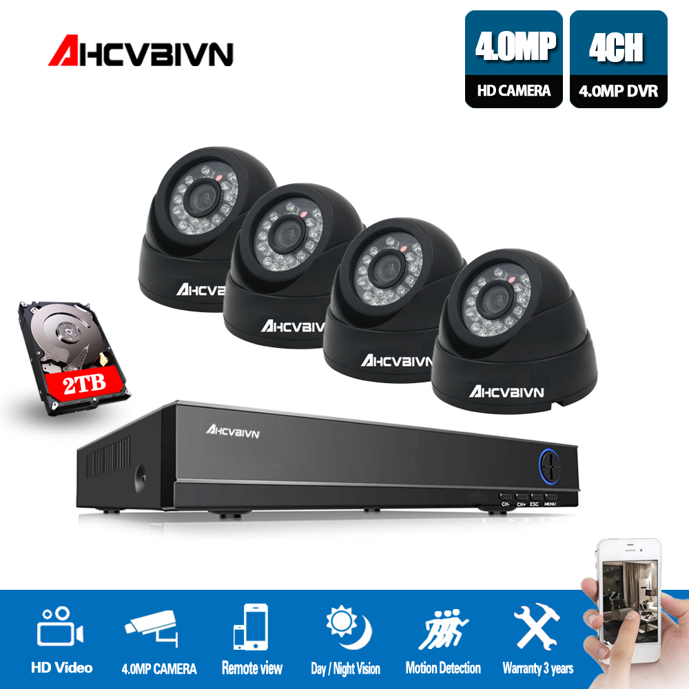 AHCVBIVN Home dvr security Camera  set 4CH HD 4MP AHD DVR Indoor CCTV Camera Dome Security System Surveillance Kit|Surveillance System| |  - title=