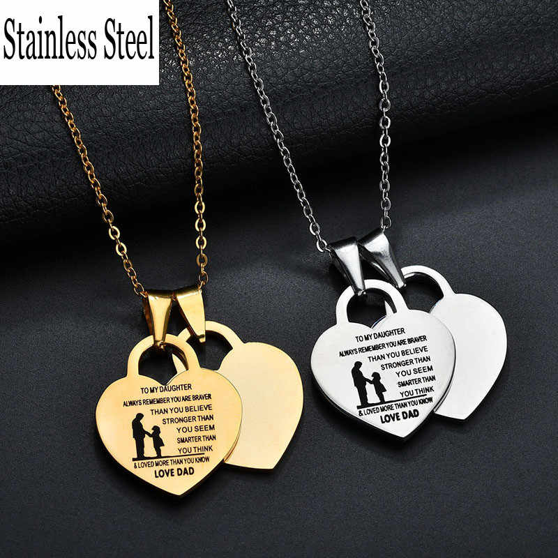 Engrave Name 316L Stainless Steel Heart Tiff Pendant Necklace Charm Style Choker Necklace For Women Forever Love