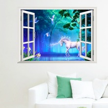 Magical Unicorn White Horse Birds Wall Stickers 3D Window Effect Wall Stickers Wallpaper For Children Bedroom Decal Poster Mural