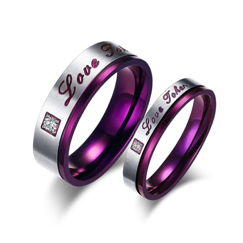28a7625369 Purple Romantic Couple Love Forever Rings Stainless Steel Girl&Boy Friend  Gift Jewelry Valentine Memorial Day With Crystal Rings