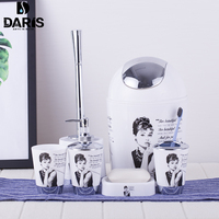 DARIS Cartoon Paris Tower Plastic Print 6 Sets Of Stylish Bathroom Toilets And Toilet Brush Home Bathroom Accessories