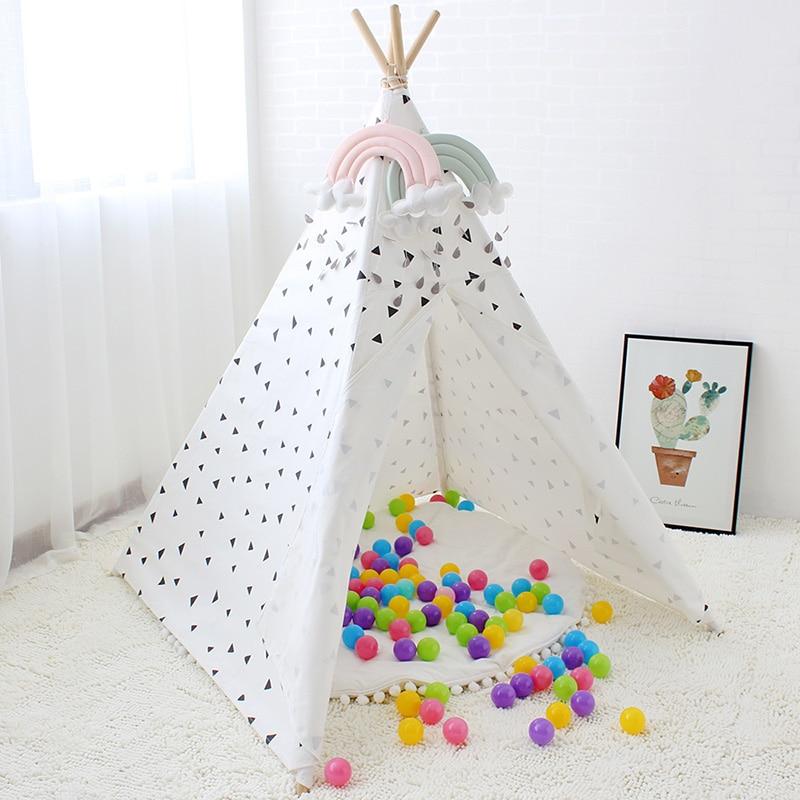 Triángulo negro impreso tienda de lona de algodón de los niños Tipi tienda para bebé decoración de la habitación de los niños casa Tipi juguete-in Tiendas de campaña de juguete from Juguetes y pasatiempos    3