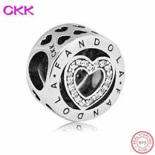 Low Price Classic Brand LOGO Heart Beads with Clear CZ DIY Fit PANDORA Charms Silver 925 Original for Women Jewelry Making CK001
