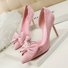Free shipping new sweet high heels fine with shallow mouth pointed high-heeled suede side bow hollow singles shoes