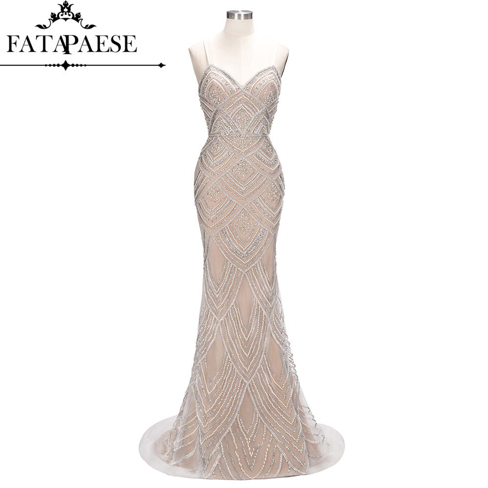 Image 3 - Luxury Dubai Beaded Pearls Mermaid Evening Dresses 2019 Spaghetti Straps Backless Formal Evening Party Dresses Gowns For Women-in Evening Dresses from Weddings & Events