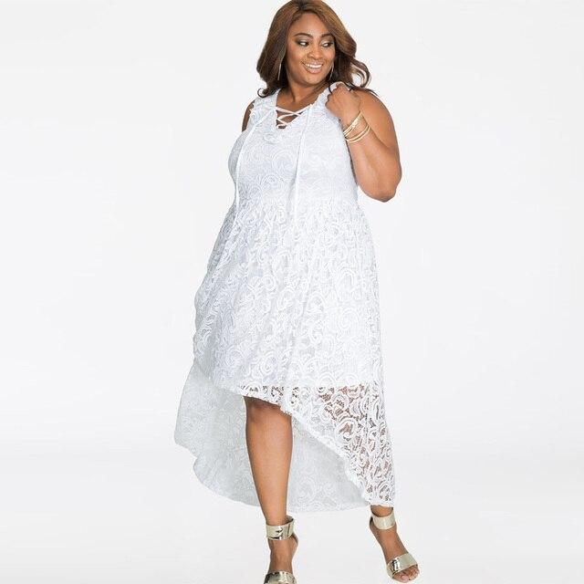 Plus Size Women Dress Lace White Summer Long Dress Casual 2018 Sun Dress Sleeveless V-Neck XXXXL XXXL Womens Beach Dresses 1