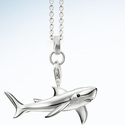 AENINE Fashion Silver Color Shark Animal Pendants Necklaces For Women Chains Length 45cm Drop Shipping TSNE022