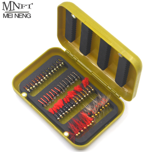 MNFT 56/40Pcs Beads Head Fly Fishing Flies Set Dry Flies With a Box Artificial Nymph Bait Trout Bass Blue Gill Fly Flie Combo
