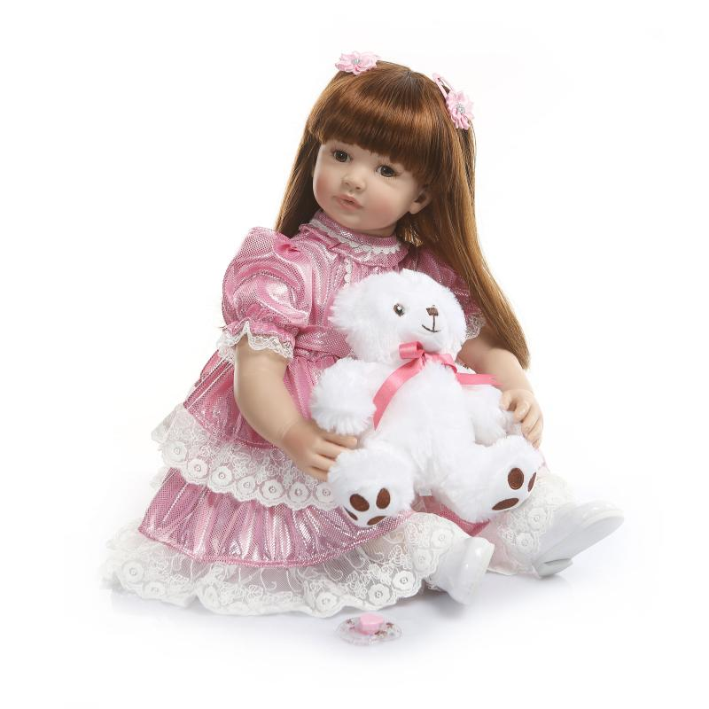 60cm Silicone Reborn Baby Doll Toys Like alive Vinyl Princess Toddler Girl babies Dolls bebe Bonecas Birthday Gift reborn dolls