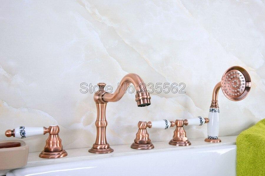 Antique Red Copper Roman Bathtub Mixer Faucet Set w/ Handheld Shower 5 Holes Tap Deck Mounted lna224Antique Red Copper Roman Bathtub Mixer Faucet Set w/ Handheld Shower 5 Holes Tap Deck Mounted lna224