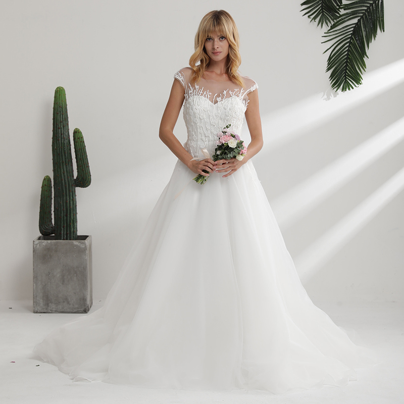 Sweetheart Wedding Dress With Cap Sleeves: YeWen Sweetheart Neck Short Cap Sleeves Lace A Line