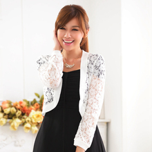 2016 Women Knitting Lace outerwear Jacket Fashion Casual Long Sleeve Hollow Out Spring Autumn Open Stitch Jacket Dress Shawl
