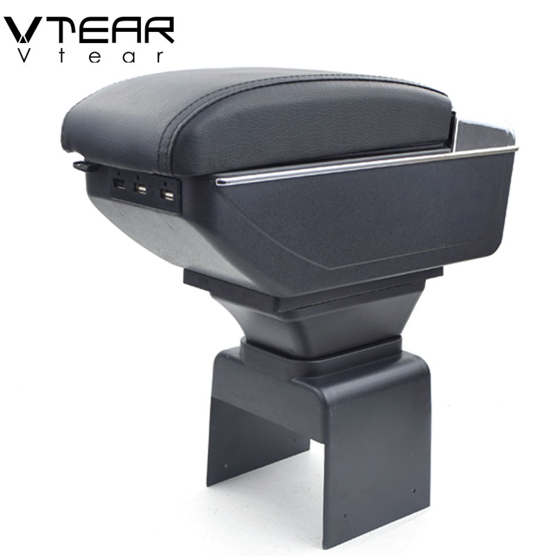 Vtear For Peugeot 307 storage box car armrest leather arm rest center console usb interface car styling ABS raised accessories-in Armrests from Automobiles & Motorcycles    1