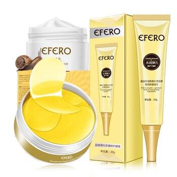 EFERO Face 3Pcs Snail Cream Eye Cream Eye Patches Skin Care Set Collagen Eyes Mask Moisturizing Whitening Cream Kit Day Cream